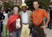 Joan Baez, Willie Brown and Gabrial Harris at the filmmaker George Lucas's open house.