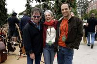 Mickey Hart, Joan Baez and Gabrial Harris at the filmmaker George Lucas's open house.