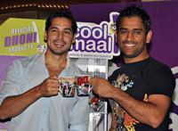 Dino Morea and Mahendra Singh Dhoni at the launch of Cool Maal official Dhoni merchandise.