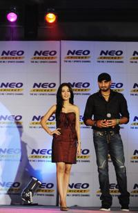 Amrita Rao and Harbhajan Singh at the promotional event for NEO Sports.