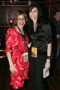 Jackie Hoffman and Christine Richie at the 49th Grammy viewing party.