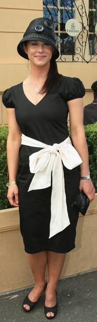 Kestie Morassi at the AAMI Victoria Derby Day during the Melbourne Cup Carnival.