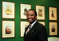 Alan Keyes at the lobby of the Grand Hotel during the Republican presidential nomination.