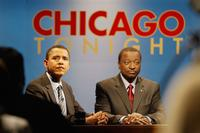 Barack Obama and Alan Keyes at the final debate for Illinois Senate Race.