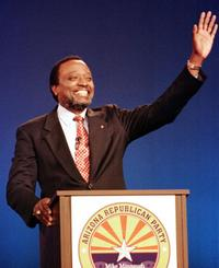 Alan Keyes at the GOP debate on the campus of Arizona State University.