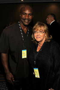 Evander Holyfield and President of The Songwriters Hall of Fame Linda Moran at the 41st Annual Songwriters Hall of Fame Ceremony in New York.