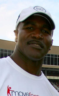 Evander Holyfield at the NASCAR Nationwide Series Degree V12 300 in Georgia.