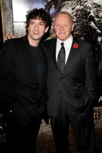 Neil Gaiman and Sir Anthony Hopkins at the European premiere of