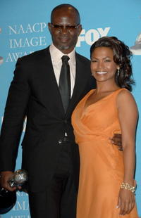 Djimon Hounsou and Nia Long at the 38th annual NAACP Image Awards.
