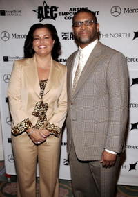 Reginald Hudlin and Debra Lee at the Artist Empowerment Coalition Celebration Luncheon Honoring Grammy Nominees.
