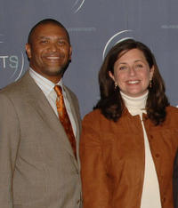 Reginald Hudlin, president of Entertainment Lifetime Entertainment Svcs. Susanne Daniels, CNN's Jeff Greenfield at the HRTS Annual Cable Chiefs Newsmaker Luncheon in California.