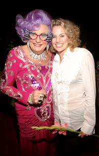 Dame Edna and Cady Huffman at the opening of