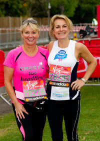 Cheryl Baker and Jay Aston at the 2011 Virgin London Marathon.