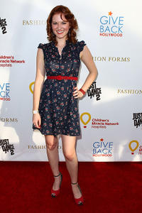 Sarah Drew at the Give Back Hollywood & Fashion Forms Giving Lounge in California.