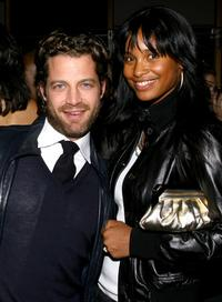 Nate Berkus and Joy Bryant at the celebration of the arrival of Brian Atwood's first Spring collection with New Yorkers For Children.