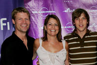 Joel Gretsch, Maira Suro and Chad Faust at the Sci-Fi Channel talent party at in California.
