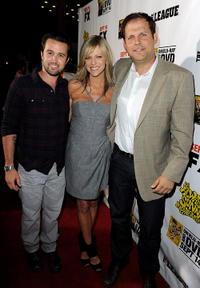 Rob McElhenney, Kaitlin Olson and executive VP of programming FX Network Nick Grad at the California premiere of