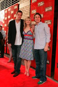 Neil Flynn, Sarah Chalke and Zach Braff at the DVD Launch Party For First Season of Scrubs.