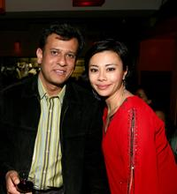 Bedabrata Pain and Angel Desai at the after party of the US premiere of