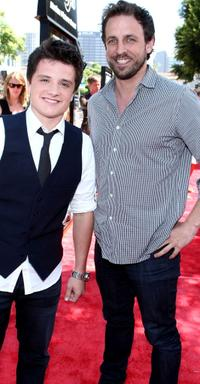 Josh Hutcherson and Seth Meyers at the premiere of