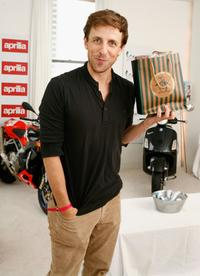 Seth Meyers at the Original Penguin booth at VMA Style Villa.