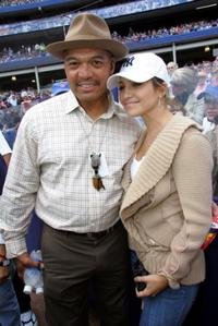 Reggie Jackson and Jennifer Lopez at the Subway Series game between the New York Mets and New York Yankees.