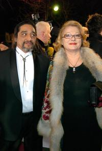 Josiane Balasko and her partner at the Chatelet theatre in Paris.