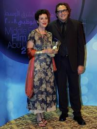 Anna Maria Monticelli and Steve Jacobs at the closing ceremony of Middle East International Film Festival (MEIFF).