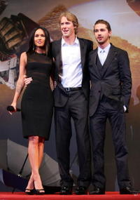 Megan Fox, Director Michael Bay and Shia LaBeouf at the South Korea premiere of