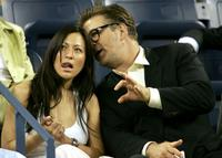Alec Baldwin and Nicole Seidel at the US Open at the USTA National Tennis Center.
