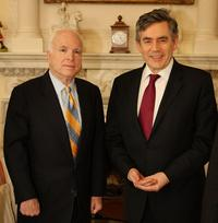 John McCain and Gordon Brown at the Downing Street in London.