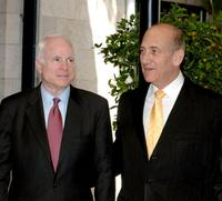 John McCain and Ehud Olmert at the Olmert's Jerusalem residence as part of his senatorial Middle East trip.