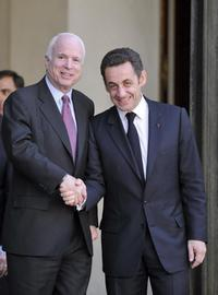 John McCain and Nicolas Sarkozy at the Elysee Palace.