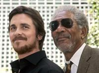 Christian Bale and Morgan Freeman at the photocall of