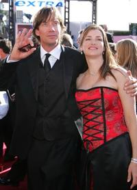 Kevin Sorbo and Sam Jenkins at the 56th Annual Primetime Emmy Awards.