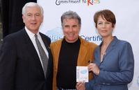 Jim O'Connor, John Walsh and Jamie Lee Curtis at the press conference to launch