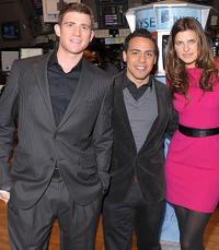 Bryan Greenberg, Victor Rasuk and Lake Bell at the opening of New York Stock Exchange.