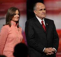 Judith and Rudy Giuliani at the televised Republican Candidates Debate.