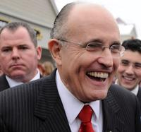 Rudy Giuliani at the Bean Towne Coffe House.