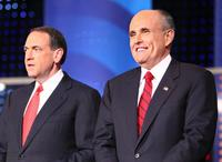 Mike Huckabee and Rudy Giuliani at the Fox News television debate.