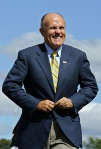 Rudy Giuliani at the Sylvania 300 at New Hampshire International Speedway.