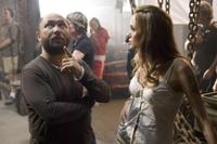 Director Timur Bekmambetov and Angelina Jolie on the set of