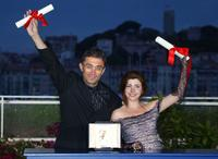 Nuri Bilge Ceylan and Ebru Ceylan at the closing ceremony of the 56th Cannes film festival.