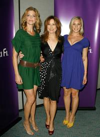 Tricia Helfer, Mary McDonnell and Katee Sackoff at the 2007 Comic-Con press panel.