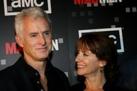 Talia Balsam and her husband John Slattery at the wrap party of AMC's