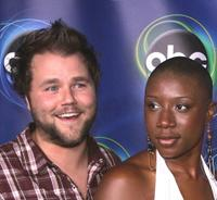Tyler Labine and Aisha Hinds at the ABC TCA party.