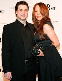 Adam Ferrara and Guest at the FEARnet's 2nd anniversary party.