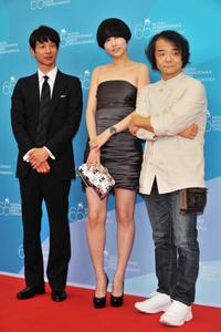 Ryo Kase, Rinko Kikuchi and director Mamoru Oshii at the photocall of