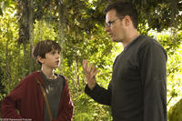 Freddie Highmore and director Mark Waters on the set of