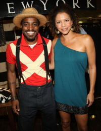Andre Benjamin and Gloria Reuben at the Mercedes-Benz Fashion Week Spring 2009.